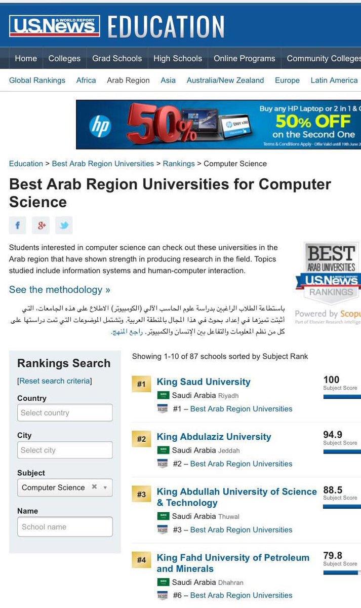 كلية علوم الحاسب بجامعة الملك سعود تتصدر قائمة أفضل كلية حاسب في الجامعات العربية حسب تصنيف US News https://t.co/7UUyBYL0Ib
