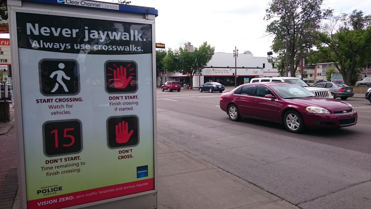 It's poor taste to place this ad steps from where someone crossing legally was killed. #yegplan #VisionZero #yegcc https://t.co/Lqogyh29Ms