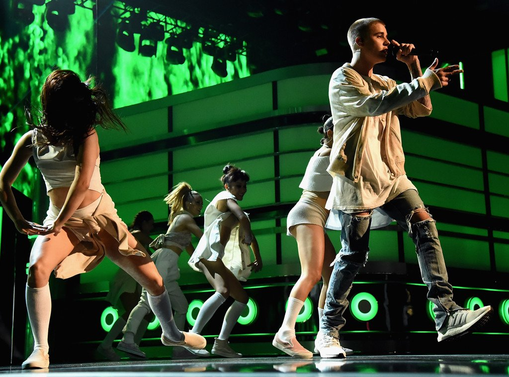 So Justin Bieber fell into a hole onstage in Canada last night:
