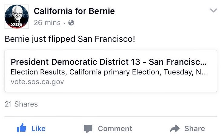 #BERNIE just took ANOTHER California county from Hillary - This time it's SAN FRANCISCO - https://t.co/iVO0PCJFg3