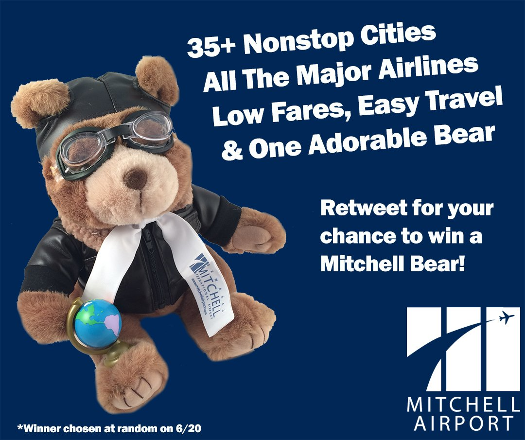 MKE has easy travel to 35+ nonstop destinations...and one adorable bear! Retweet this for your chance to win one! https://t.co/KCYMZ09jfq