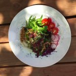 A beautiful, clean, fresh salad & a glass of vino on the patio? What could be better!? #EatAtGeorgia #SantaFeNM https://t.co/y3ADL2RmMh