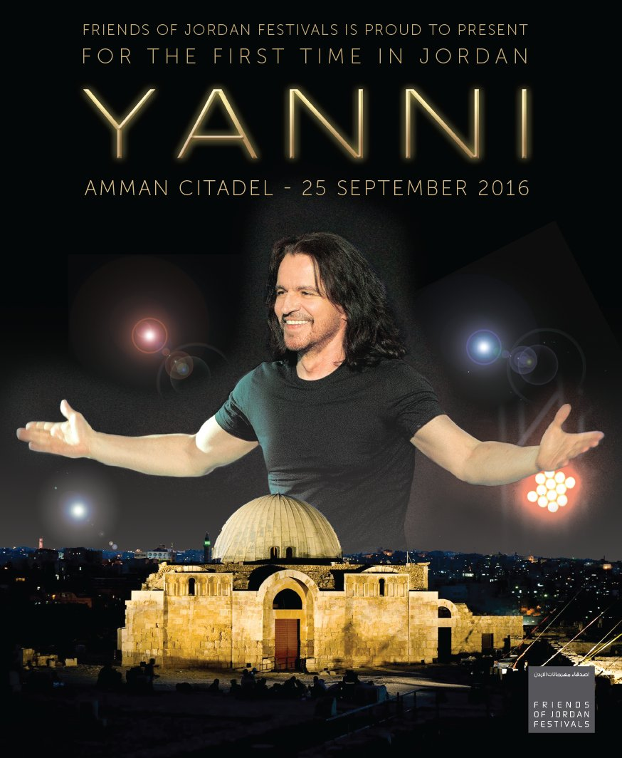 Yanni will be performing in Jordan for the first time ever! Amman Citadel - Sept 25th, 2016. Tickets on sale soon! https://t.co/tu0no2GQCJ
