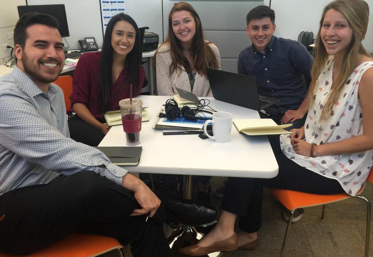 The power team!! @hp comms summer interns @amandaanaranjo @saraellamo1 @rcleberhardt @_PierceBaker #HPTwiterns https://t.co/y43EJ3leTu