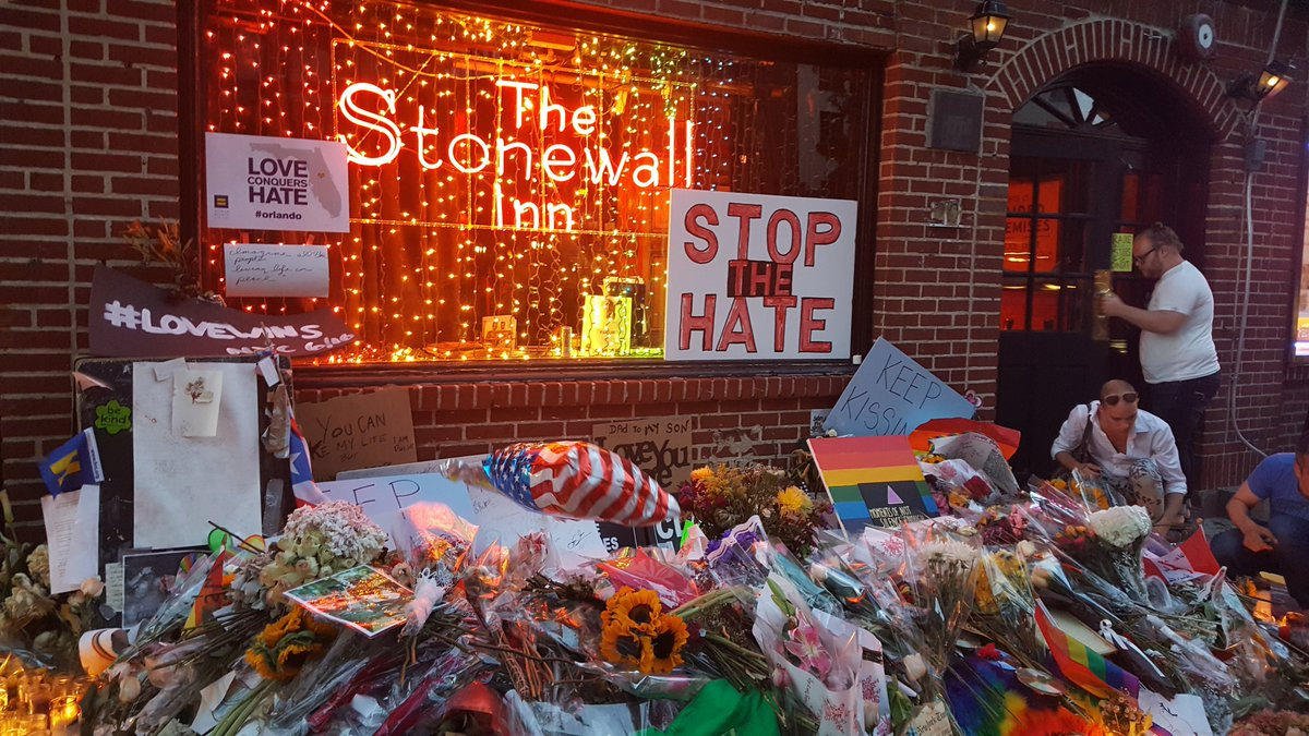 So moving to stand here at @TheStonewallNYC before seeing @JohnFugelsang & @Comedydaddy rock @DuplexNYC. #Orlando https://t.co/1lmGSKHq21