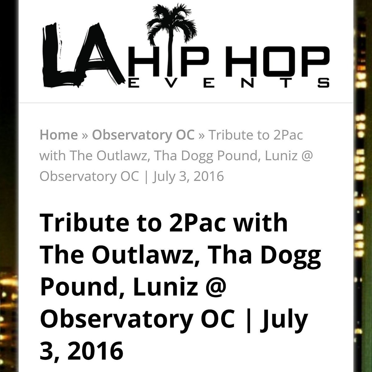 If you in the LA area come party wit us July 3 in Santa Ana at the Observatory! #Outlawz #DoggPound #Luniz #Concert https://t.co/3JSYjOby2m