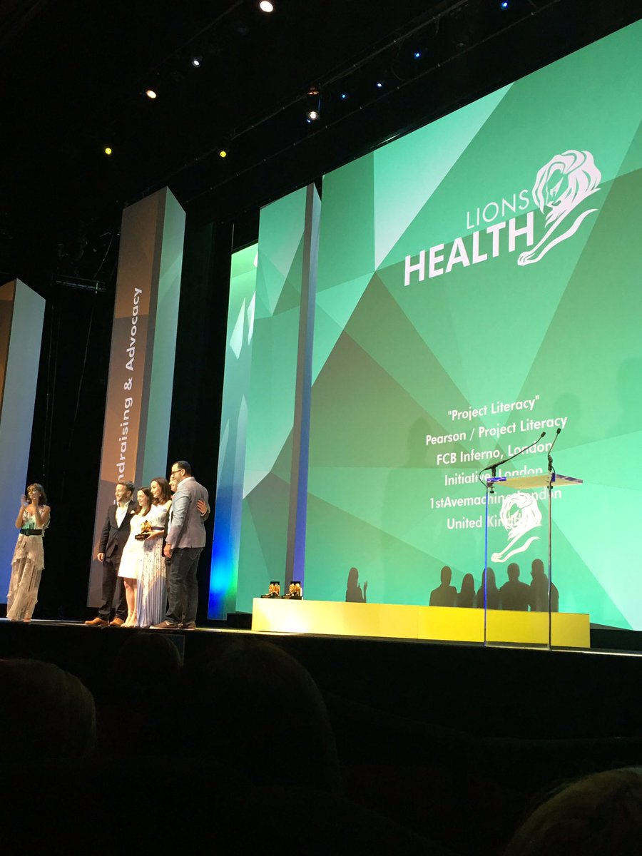 ".@FCBinferno wins a Grand Prix for it's ""Project Literacy"" revolution. #LionsHealth https://t.co/kbVBoZl31O"