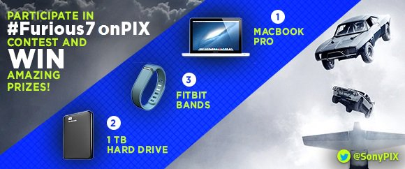 1 MacBook, 3 FitBit bands and TWO Hard drives are up for grabs!  Tweet to win BIG guys!   #Furious7onPIX https://t.co/LEljSLmIGe