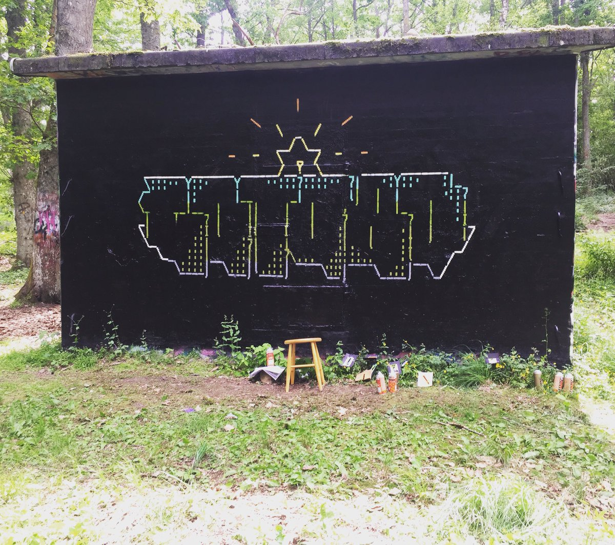 A new #amiga #asciigraffiti. Looks totally absurd IRL in the forest.