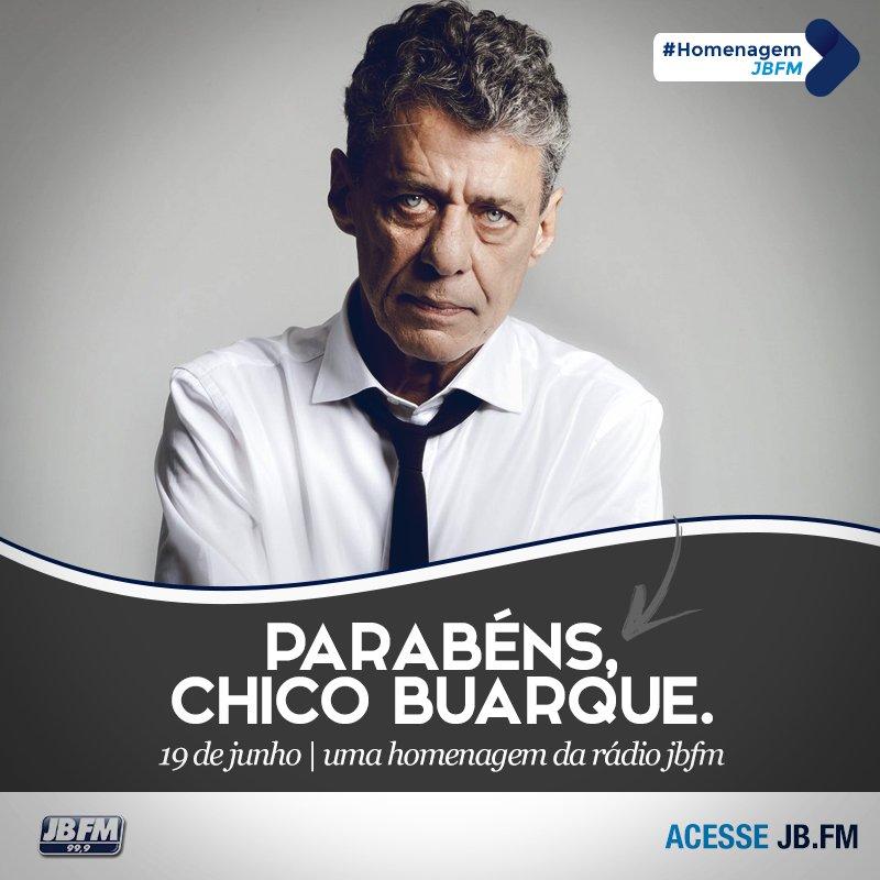 O grande nome da música brasileira, Chico Buarque, está fazendo aniversário hoje. Parabéns! #JBFM #ChicoBuarque https://t.co/PwgvYVd7Fi
