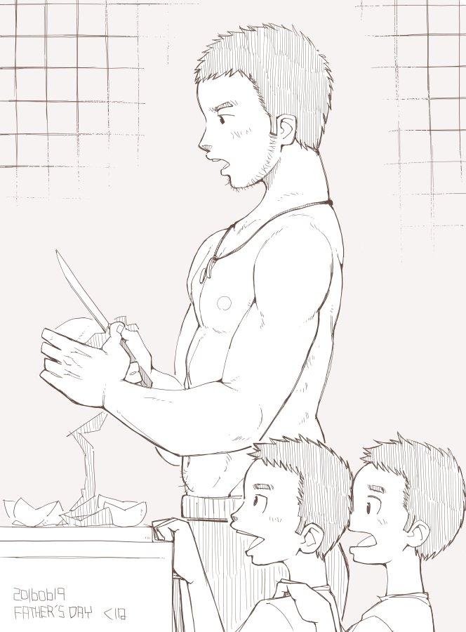 父の日なので、いつぞやの若パパ家族を描きました(´ω`)