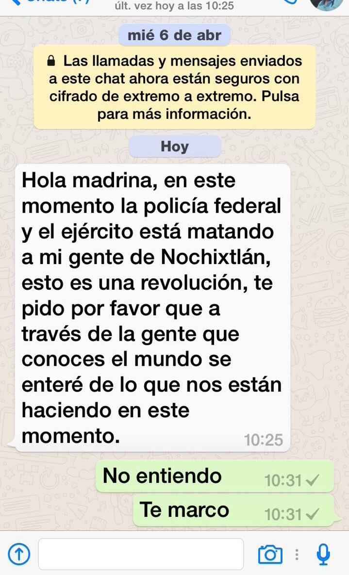 Ayuden masacre en #Nochixtlan @epigmenioibarra @AristeguiOnline @RegeneracionMx RT mensaje de mi ahijada pide ayuda https://t.co/TsiNGnKj2m
