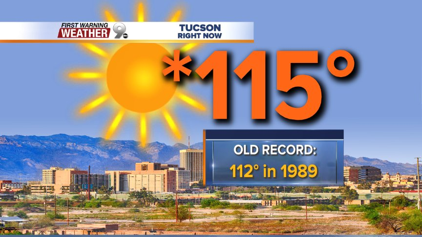 It's official!  115° becomes the new record high for June 19th in Tucson.  The old record of 112° has fallen... https://t.co/uNw0ZPNZyp