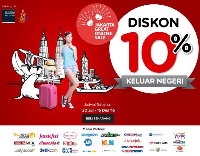 Jakarta Great Online Sale, Diskon 10% Ke rute Internasional! beli di
