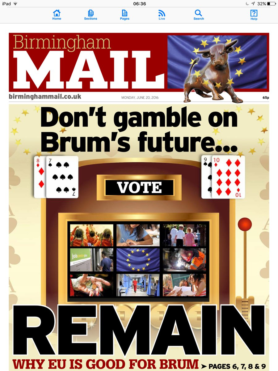 Today, the @birminghammail urges readers to vote to remain. Here's why #BrumBetterIn https://t.co/Rzt2UE7YX9 https://t.co/mMHhDAKBSO