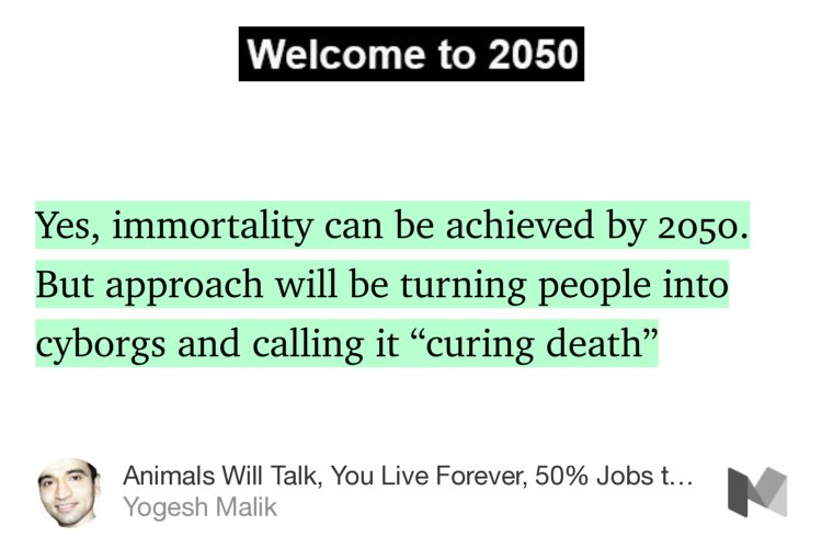 """Yes, immortality can be achieved by 2050. But approach will be turning…"" https://t.co/wpS3cWhnFB https://t.co/RXlMKfSKN5"