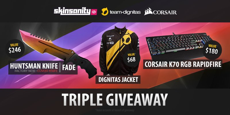GIVEAWAY: Huntsman Fade, @Corsair K70 RGB Rapidfire & DIG jacket!  RT & enter: https://t.co/2d53rPTwmT @SkinsanityGG https://t.co/Dn4m7zd2CU