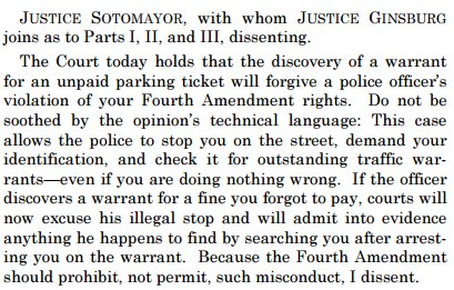 Sotomayor, J., dissenting and pissed off in a Fourth Amendment case. https://t.co/uTQ0Q8Q010 https://t.co/FRLWuyMKfz