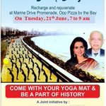 International yoga day 21st June.. come with your yoga mats be a part of history tom at marine drive from 7am - 9am https://t.co/bDMVoYgiJl