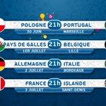 #EURO2016 Toutes les infos sur les quarts ⌚📌 #POLPOR #WALBEL #GERITA #FRAISL https://t.co/Eyz3FyaEsk