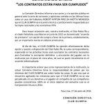 """""""Los contratos están para ser cumplidos."""" Comunicado oficial de @elClubOlimpia respecto al caso Piris Da Motta. https://t.co/3H3l6hQyGM"""