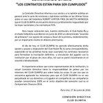 LA MOTTA DE LOS CLUBES Notas oficiales tanto de Rubio Ñu y Olimpia acerca del caso compra de Robert Piris Da Motta. https://t.co/ECxDrTp3aM