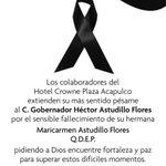 Sr. Gobernador @HectorAstudillo a nombre de @CPAcapulco reciba nuestras más sinceras condolencias. https://t.co/xAZy3vtDvf