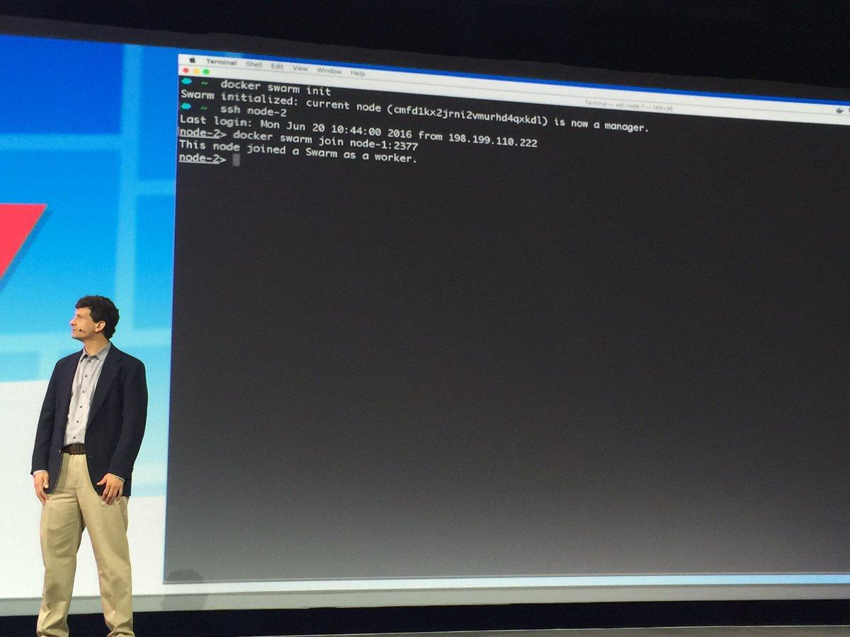 #DockerCon  docker swarm init docker swarm join 2 commands to get a cluster up and running https://t.co/bUdTOFtmKk