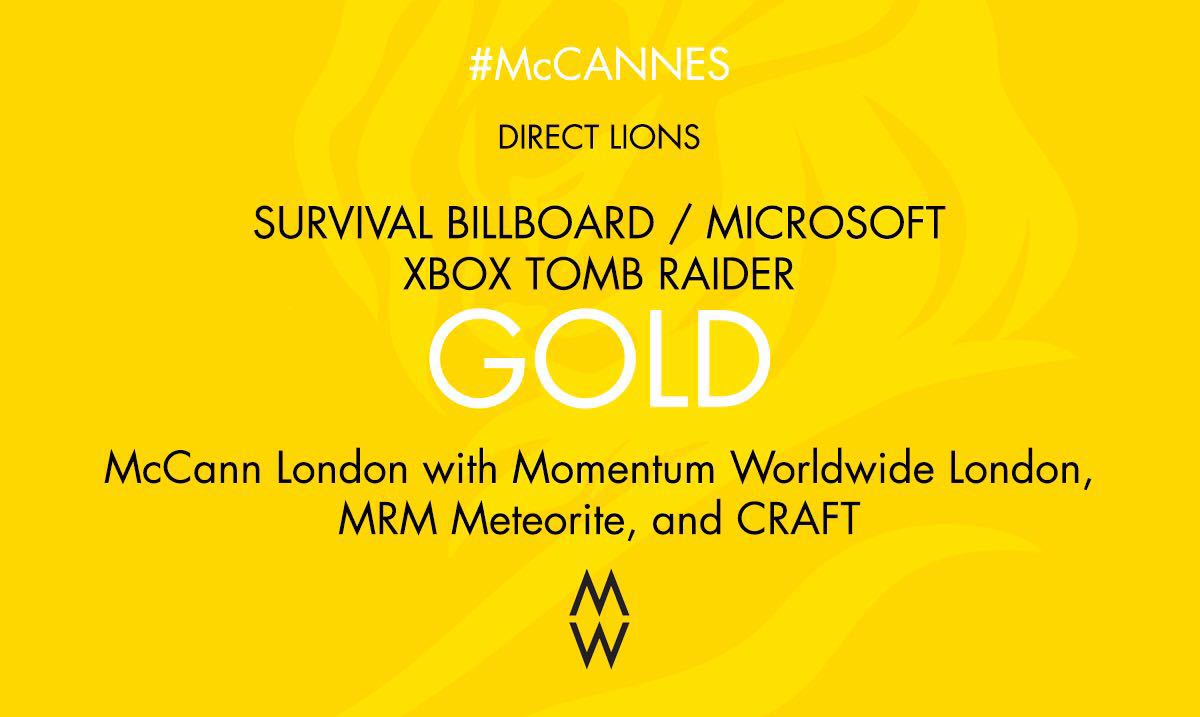 GOLD. #CannesLions in Direct for #SurvivalBillboard @xboxuk #McCannes https://t.co/6sxtv7paRF