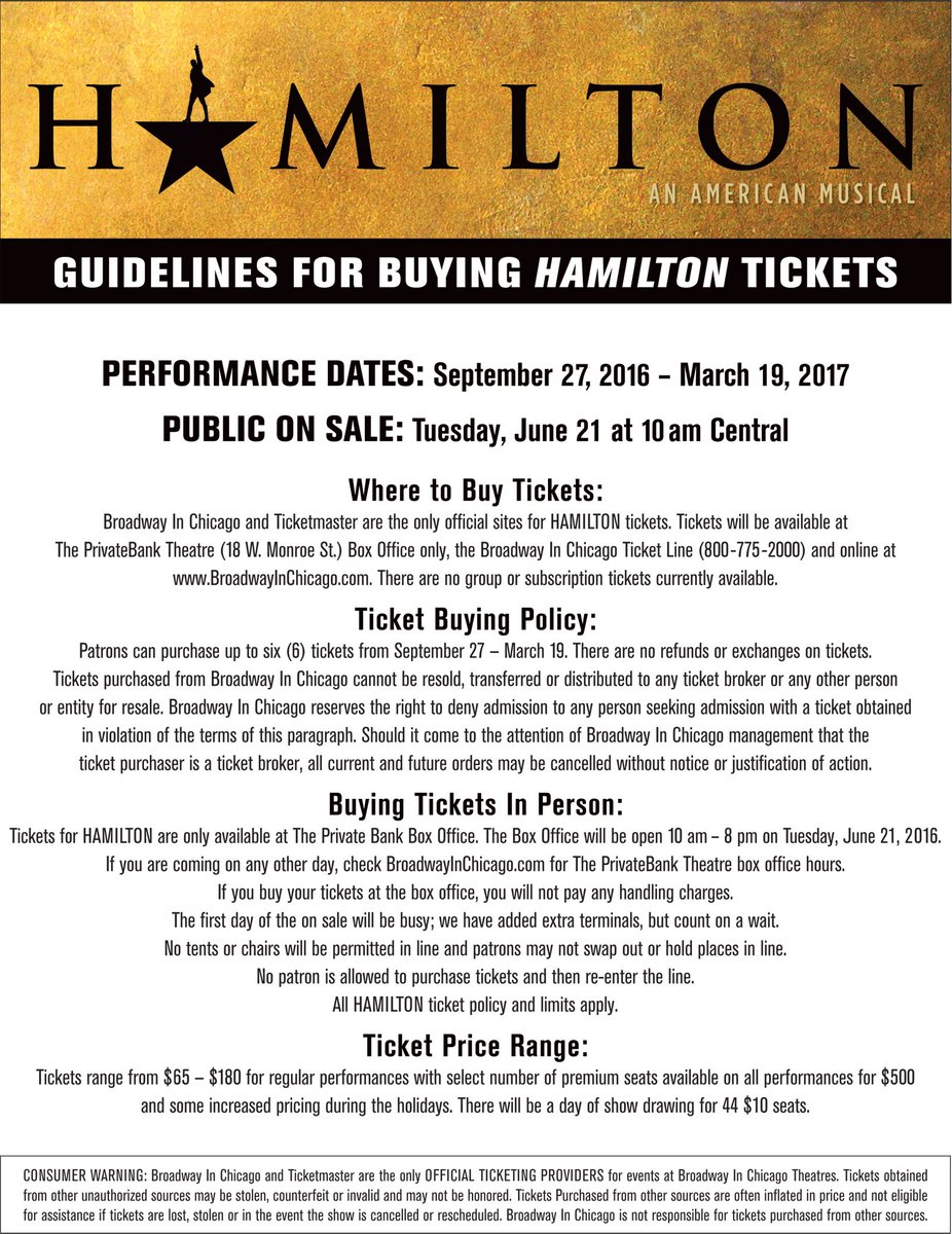 Information regarding the @HamiltonMusical Chicago public on sale tomorrow morning at 10 a.m. central is below! https://t.co/ddTNggvR2J