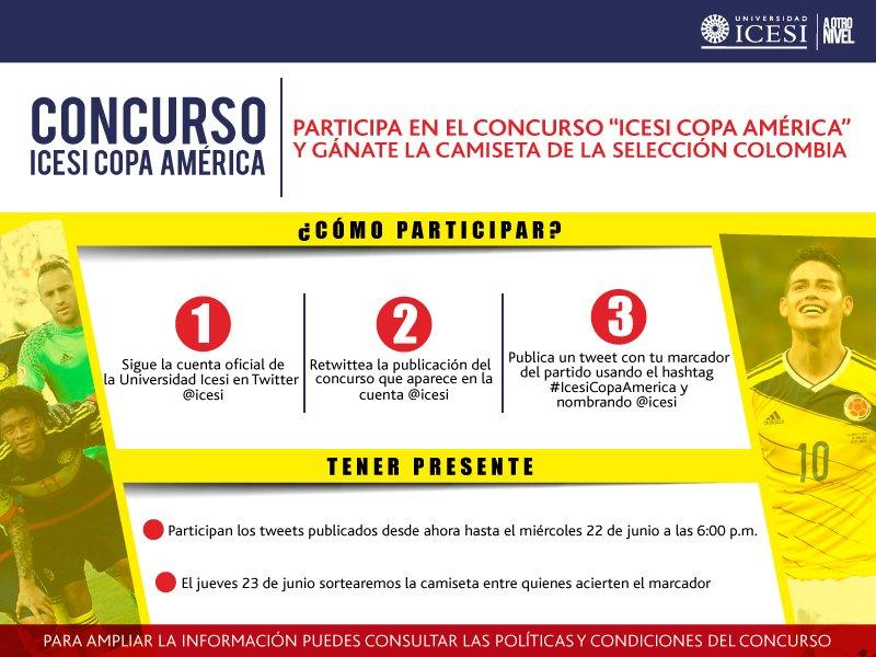 #IcesiCopaAmerica Acierta el marcador y participa por la camiseta oficial de la Selección. https://t.co/u9a1oBbEkd https://t.co/s1WzdLeXfg