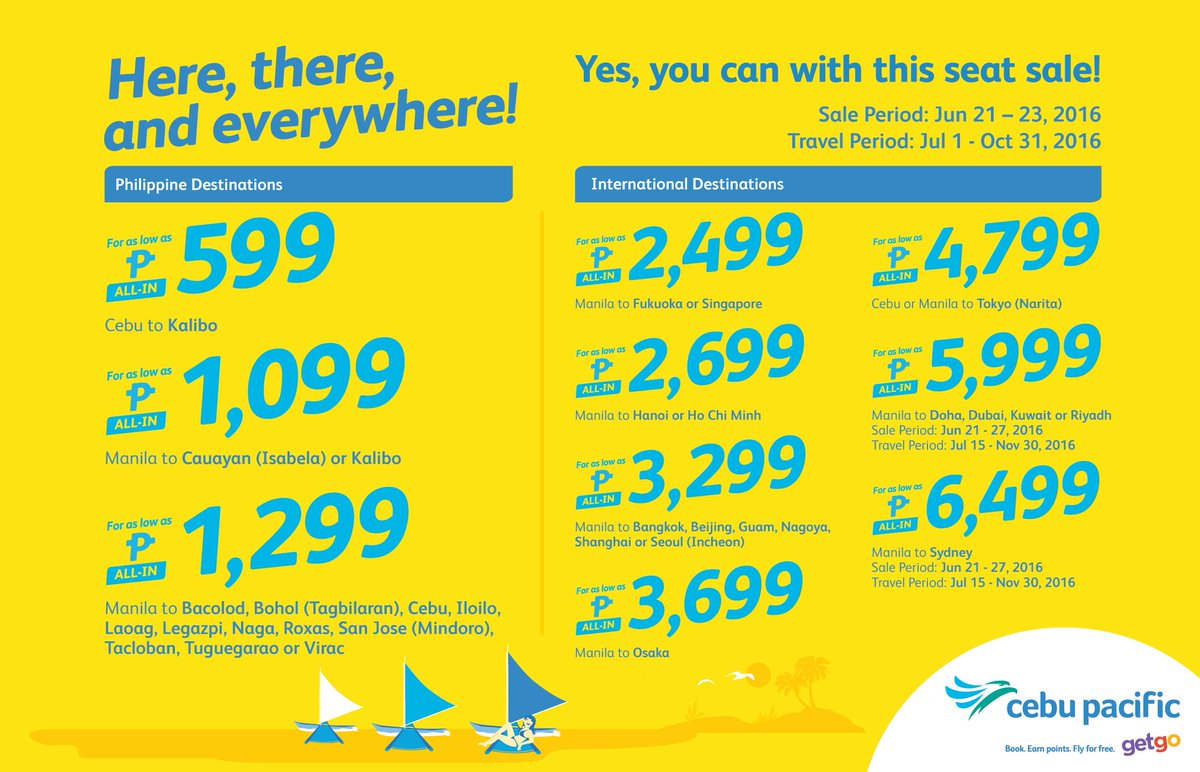 Oh, the places you'll go with the new CEBSeatSale! Book now!