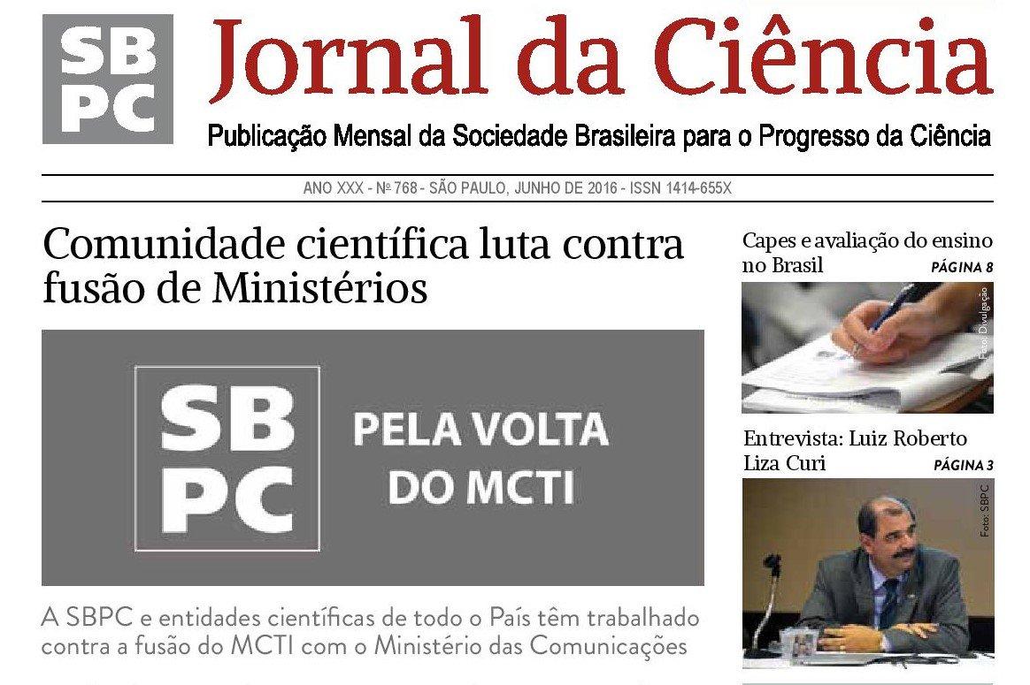 Edição impressa do #JornaldaCiência de junho destaca posicionamento contra fusão do MCTI. https://t.co/RaID83buXQ https://t.co/Em0RBsOMkB