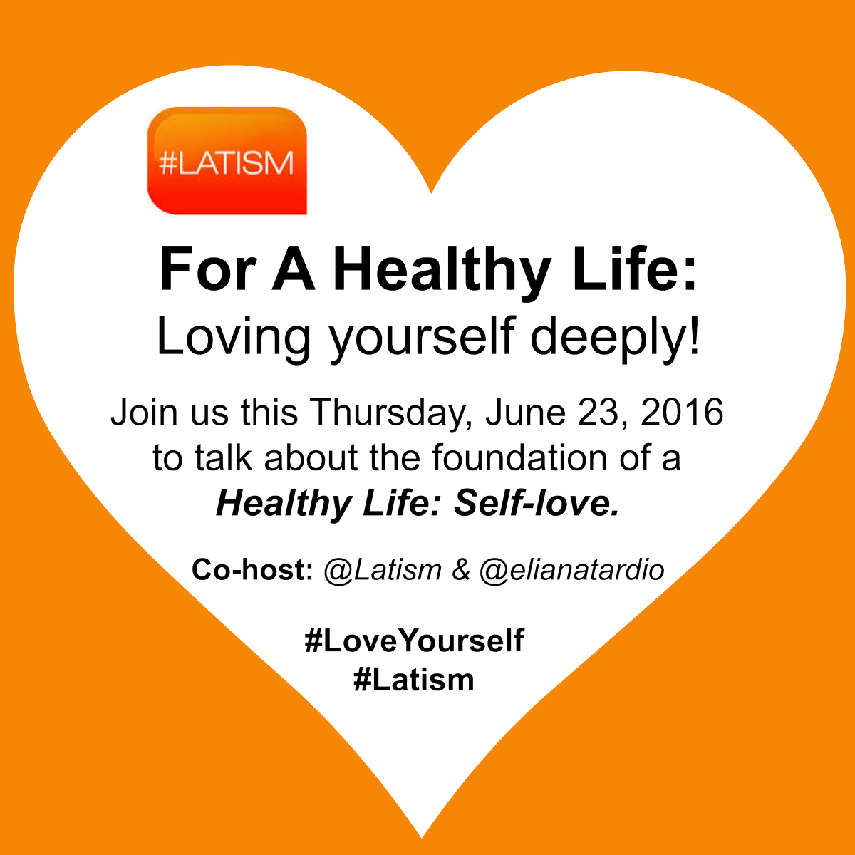 Join us this Thursday at 9PM with @ELIANATARDIO: https://t.co/paFxkIErrl #LATISM #LoveYourself https://t.co/sZDDpIMxxu
