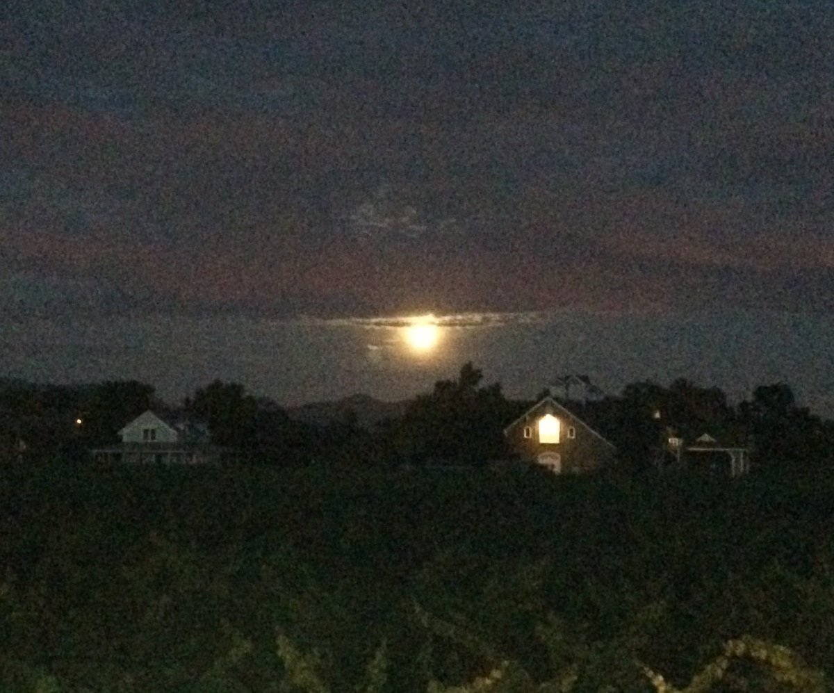 Strawberry moon on summer solstice over Kronos Vineyard @corisonwinery. This won't happen again in my lifetime. https://t.co/Mj0bfE9KMj