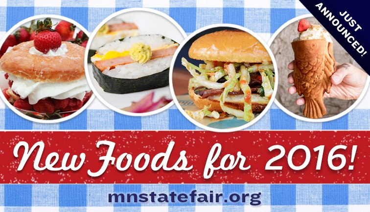 32 NEW FOODS make their State Fair debut in 2016! Sizzling & sweet details @ https://t.co/N6DCwODhvL https://t.co/0AxJbGmB6t