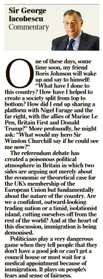 Sir George Iacobescu on demonisation of immigrants and @BorisJohnson. Pulls no punches in tomorrow's @TimesBusiness https://t.co/HR30ldkmaR
