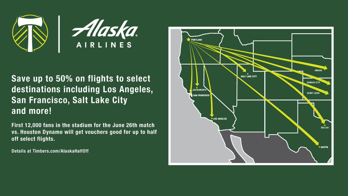 RT @TimbersFC: .@AlaskaAir giving away vouchers for up to 50% off flights at June 26 Timbers match! RCTID https://…
