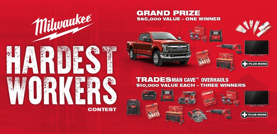 Get a shot at a @FordTrucks  F250 & tradesMAN CAVE @MilwaukeeTool  Hardest Workers Contest https://t.co/x1FPShDJXV https://t.co/tjeqNMRdfS