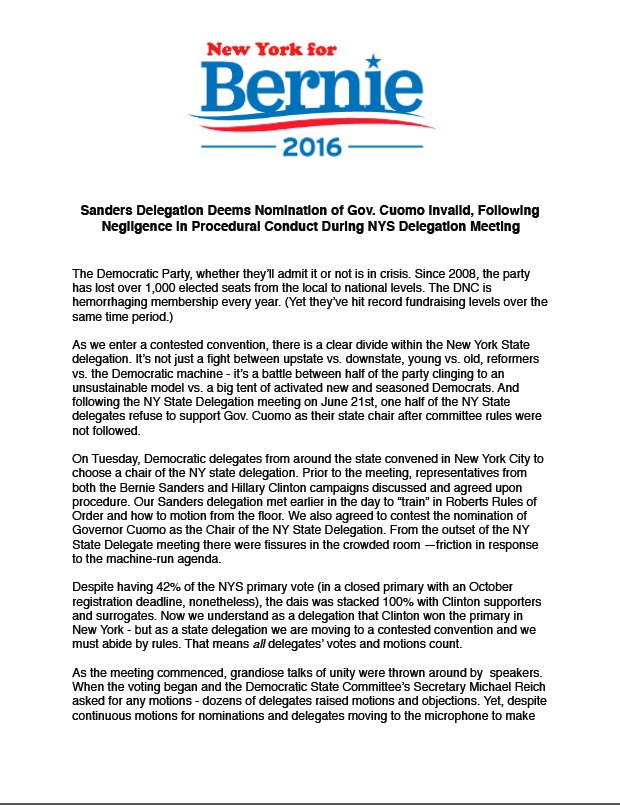 The statement from the NYS @BernieSanders Delegation after today's @nydems meeting: https://t.co/DCnY6EKrjb