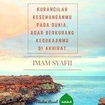 Kurangilah kesenanganmu pada dunia. Agar berkurang kedukaanmu di akhirat (Imam Syafii) #TeladanRasul https://t.co/yJOTdxDAUz