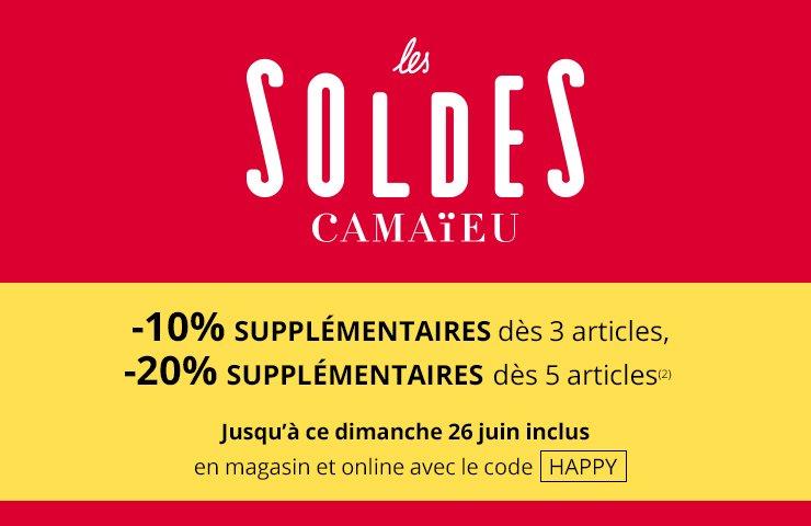 #SOLDES Profitez de 10% supp. dès 3 articles ou 20% dès 5 art. sur camaieu.fr et en magasin sur TOUT y compris Newco https://t.co/3Yhnxy18qb
