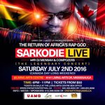 2nd July !!!!! @sarkodie Live in Canada ???????????????????????? History about to made #SarkodieLiveCanada https://t.co/ULdokGhxUv