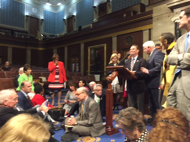 "Updated look w/ my colleagues. Quiet a chorus of ""We Shall Not Be Moved"" starting up on the Floor. #DisarmHate https://t.co/xA69PZn5o8"