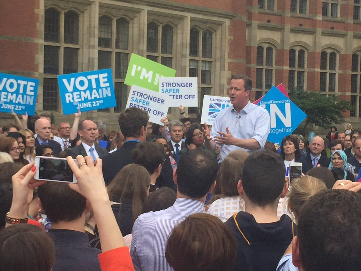 The Prime Minister, @David_Cameron is currently on campus to talk #euref. https://t.co/mcxL1arB9Q