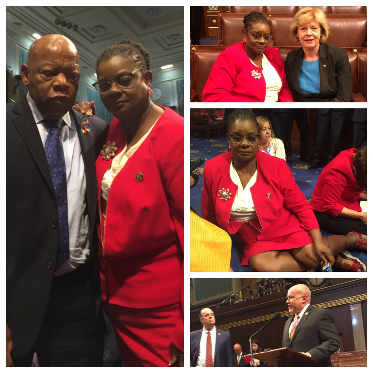 Wisconsin in the House. Proudly holding the floor w/ @repjohnlewis @repmarkpocan @SenatorBaldwin to #EndGunViolence! https://t.co/o1SkFyMpN2
