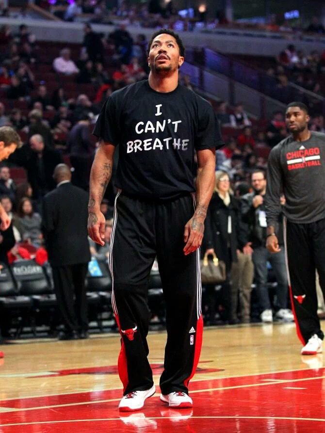 """That time Derrick Rose was the first NBA player to wear an """"I Can't Breathe"""" shirt on the court https://t.co/3QA3vniTtH"""