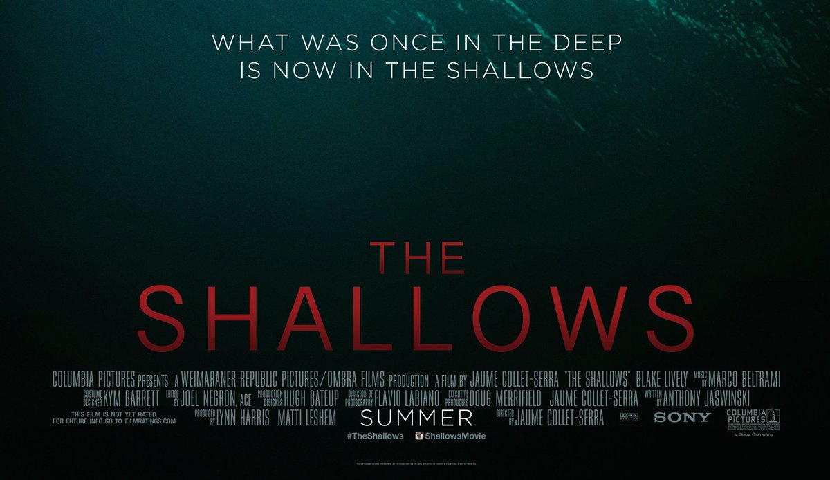 THE SHALLOWS was originally titled IN THE DEEP, so its poster tagline is also a statement of literal fact. https://t.co/aid95swFDu