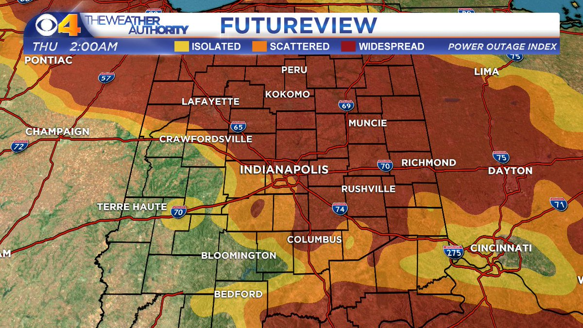 Keep your cell phones charged. Make sure your flash lights work. Power outages possible overnight. #INwx #Indy https://t.co/RWhW5KvKQR