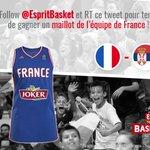"""#JeuConcours Match #SERFRA : Follow + RT pour tenter de gagner un maillot @FRABasketball """"PARKER"""" (L ou M) ! 🇫🇷 https://t.co/w02Vvq4OZv"""